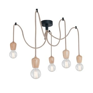 Závěsné svítidlo s 5 kabely a dřevěnou objímkou Homemania Shold