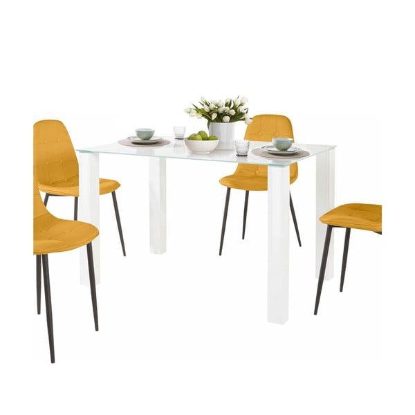 Sada jídelního stolu a 4 žlutých židlí Støraa Dante, délka stolu 120cm