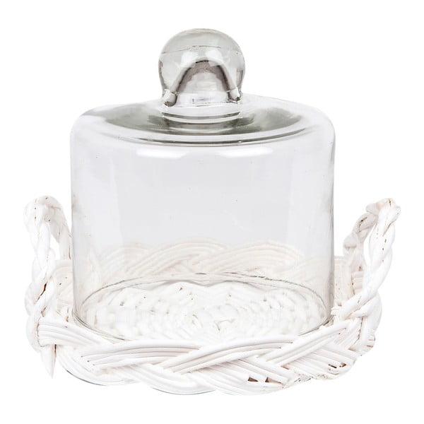 Poklop s ratanovým podnosem Glass Dome