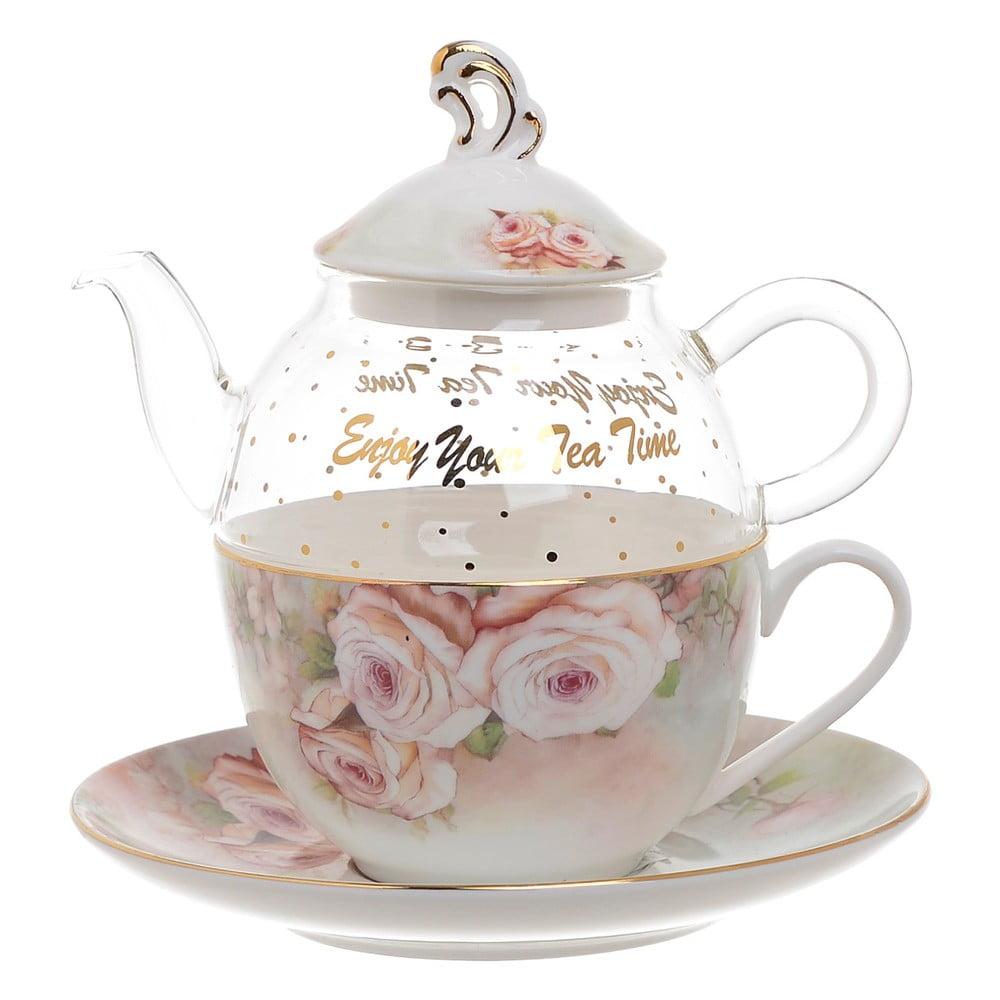 Set čajové konvičky ze skla s šálkem z porcelánu InArt Medea