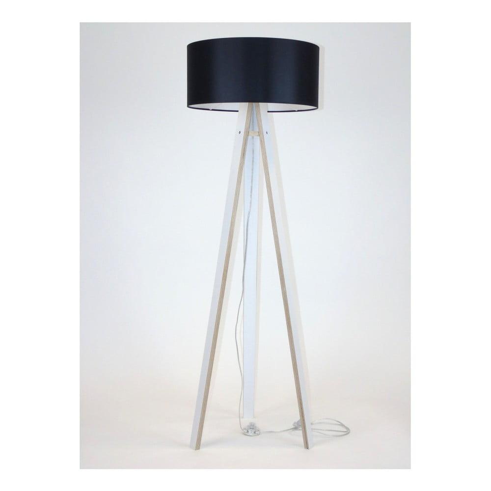 Bílá stojací lampa s černým stínítkem a transparentním kabelem Ragaba Wanda