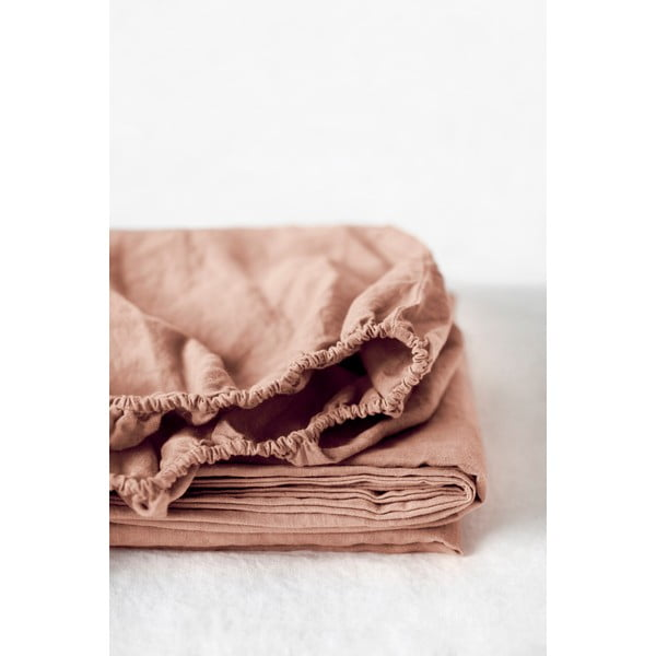 Brązowoterakotowe elastyczne prześcieradło lniane Linen Tales, 180x200 cm
