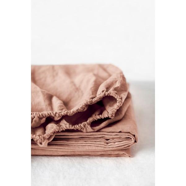 Cearșaf elastic din in Linen Tales, 90 x 200 cm, maro teracotă