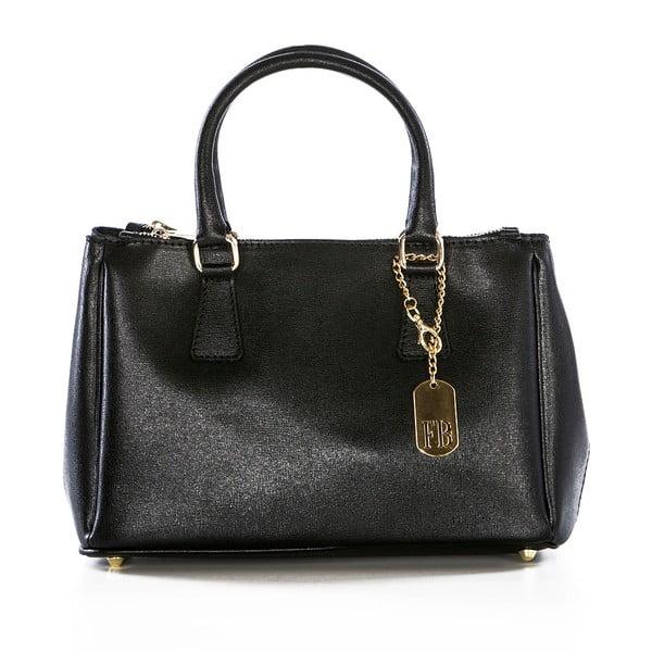 Černá kožená kabelka Federica Bassi Saffi