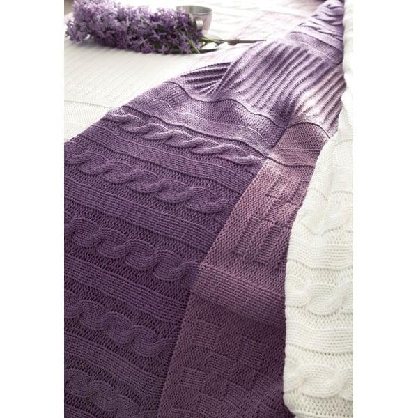 Povlečení Purple and White s prostěradlem a přehozem, 160x220 cm