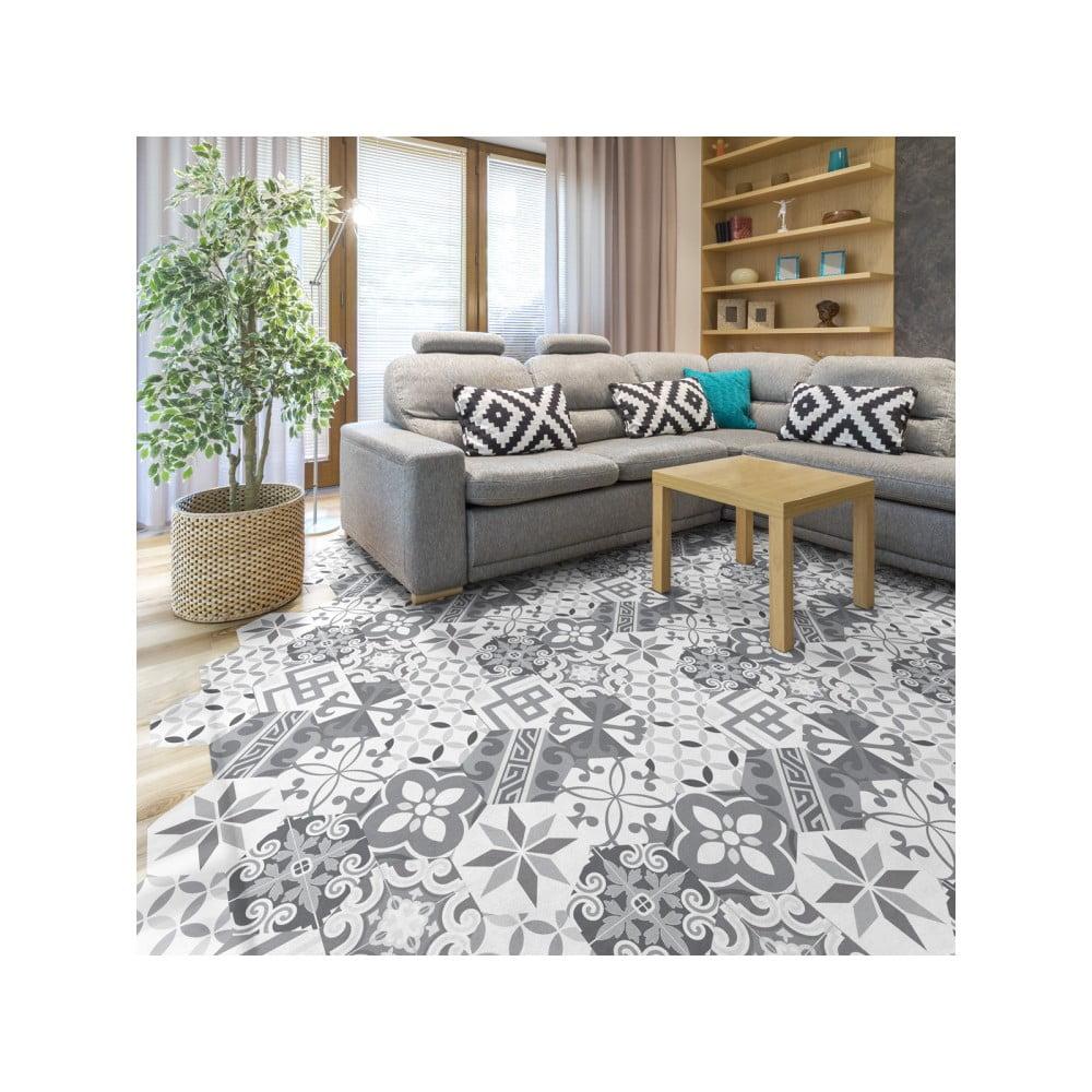 Sada 10 samolepek na podlahu Ambiance Hexagons Tristano, 20 x 18 cm