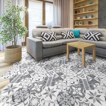 Set 10 autocolante pentru podea Ambiance Hexagons Tristano 20 x 18 cm