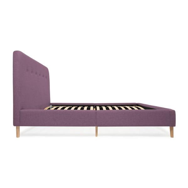 Fialová dvoulůžková postel s dřevěnými nohami Vivonita Mae, 140 x 200 cm