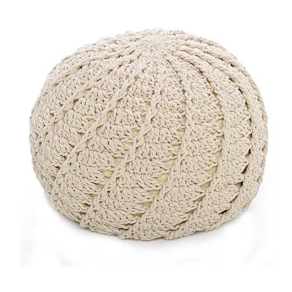 Pletený puf Cream, 40x40 cm
