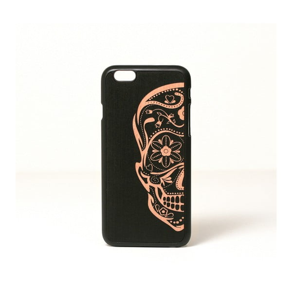 Dřevěný kryt na iPhone 6, Sugarskull design