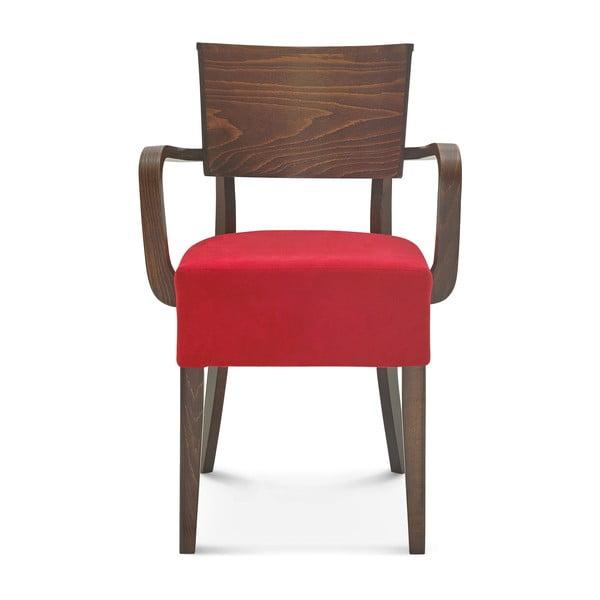 Dřevěná židle s červeným polstrováním Fameg Else
