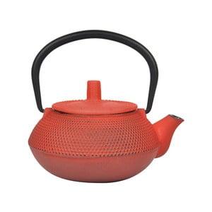 Oranžovo-červená konvička na čaj z litiny Bambum, 800 ml