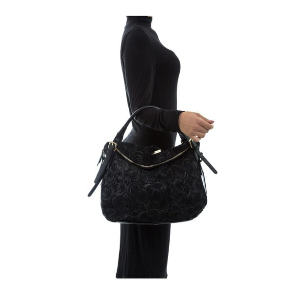 Černá kožená kabelka Mangotti Bags Ines