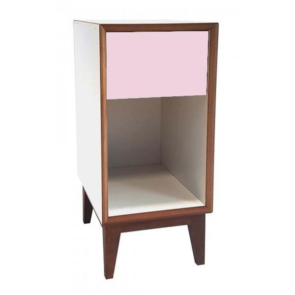 Malý noční stolek s bílým rámem a růžovou zásuvkou Ragaba PIX