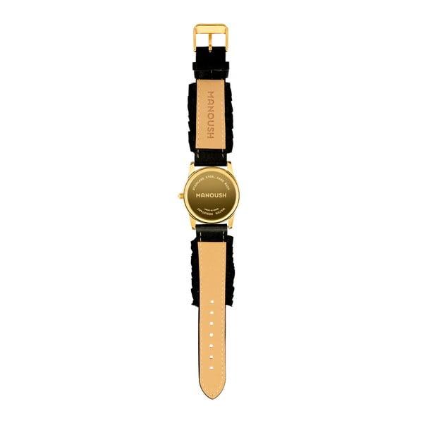 Dámské hodinky s černým koženým páskem Manoush Envy