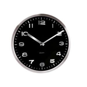 Černé hodiny Present Time Mirror Numbers