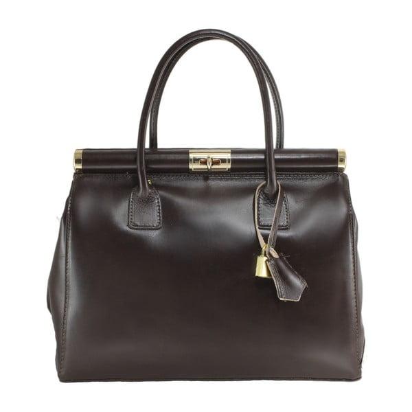 Tmavě hnědá kožená taška Camilla