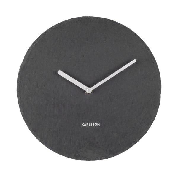 Čierne nástenné bridlicové hodiny Karlsson Slate, Ø25cm