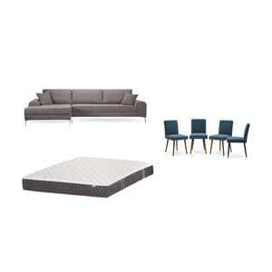 Set hnědé pohovky s lenoškou vlevo, 4modrých židlí a matrace 160 x 200 cm Home Essentials