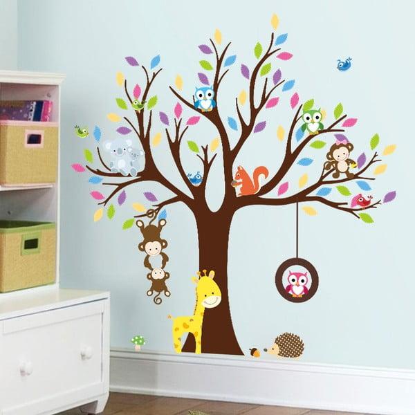 Sada nástěnných dětských samolepek Ambiance Tree with Animals