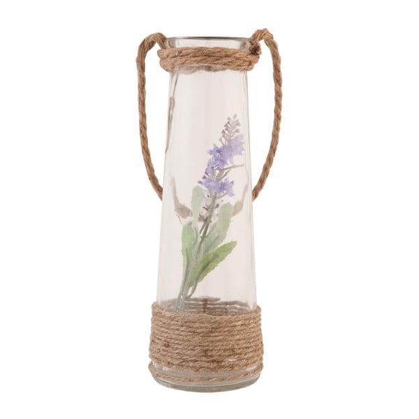 Skleněná váza s umělou květinou Clayre, 25 cm