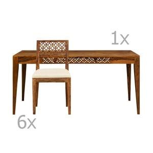 Set masă dining și 6 scaune din lemn de palisandru Massive Home Rosie