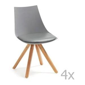 Sada 4 šedých židlí La Forma Armony