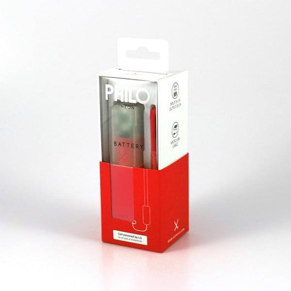 Červená powerbanka s poutkem Philo Easy