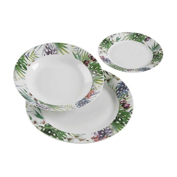 Komplet 18 talerzy porcelanowych VERSA Tropical