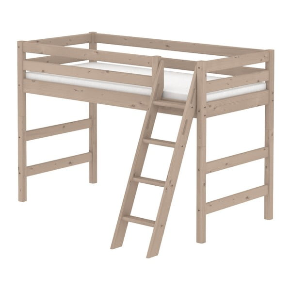 Brązowe wysokie łóżko dziecięce dla 2 osób z drabinką z drewna sosnowego Flexa Classic, 90x200 cm