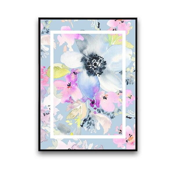 Plakát s modrými květinami, 30 x 40 cm