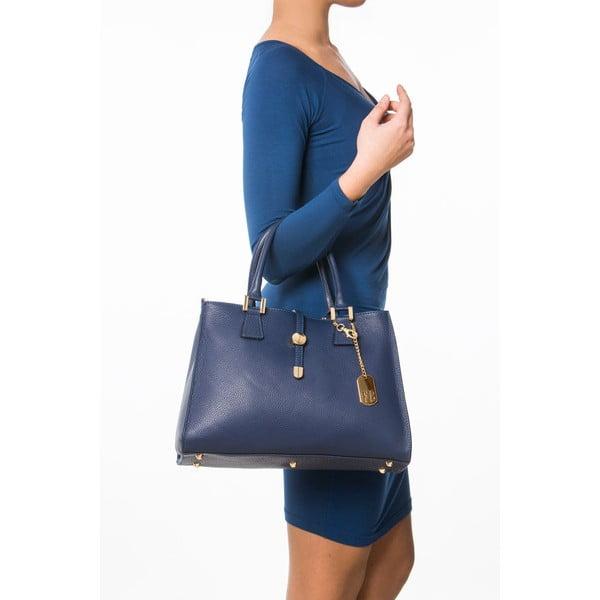 Kožená kabelka Federica Bassi Laura, modrá