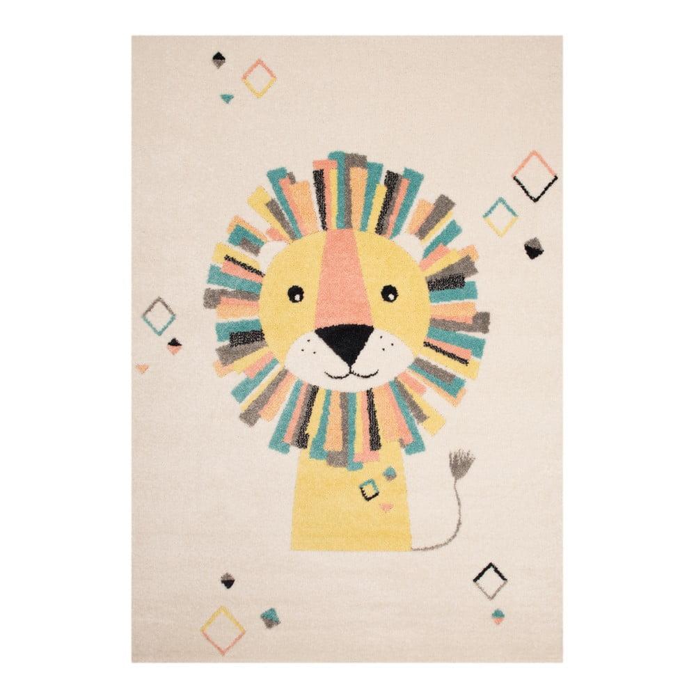 Béžovokrémový dětský hnědý koberec Zala Living Lion, 120 x 170 cm