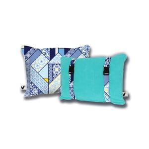 Tyrkysový oboustranný plážový polštář Origama Lisboa