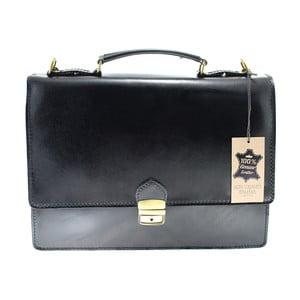 Černá kožená taška Chicca Borse Messenger