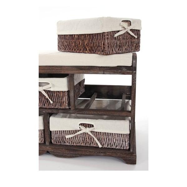 Hnědá dřevěná lavice s odkládacím prostorem Mendler Shabby