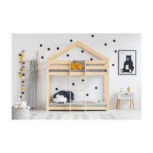 Cadru pat supraetajat din lemn de pin, în formă de căsuță Adeko Mila DMP, 80 x 160 cm