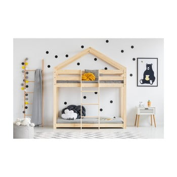 Cadru pat supraetajat din lemn de pin, în formă de căsuță Adeko Mila DMP, 70 x 140 cm