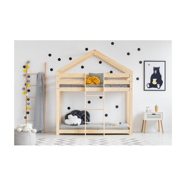 Cadru pat supraetajat din lemn de pin, în formă de căsuță Adeko Mila DMP, 90 x 180 cm