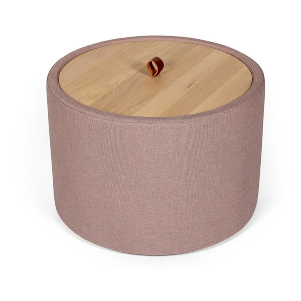 Ibisco világos rózsaszín tárolóasztal, levehető tölgyfa asztallappal, ⌀ 56 cm - Askala
