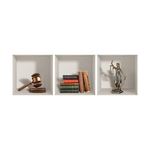 Sada 3 3D samolepek na zeď Ambiance Justice
