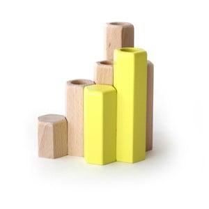 Žlutý stojan na svíčky z masivního bukového dřeva HARTÔ