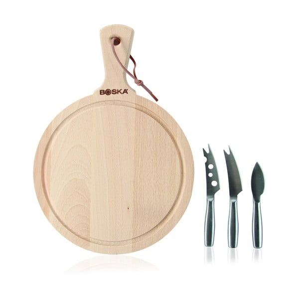 Zestaw okrągłej deski do krojenia/serwowania i 3 nożyków do serów Boska Cheese Set Amigo Round