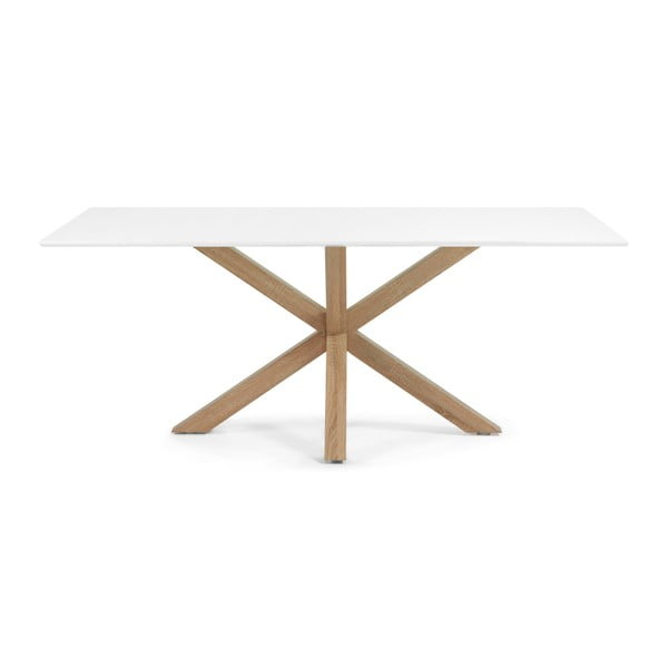Jídelní stůl s bílou deskou a dřevěným podnožím La Forma Arya,90x160cm