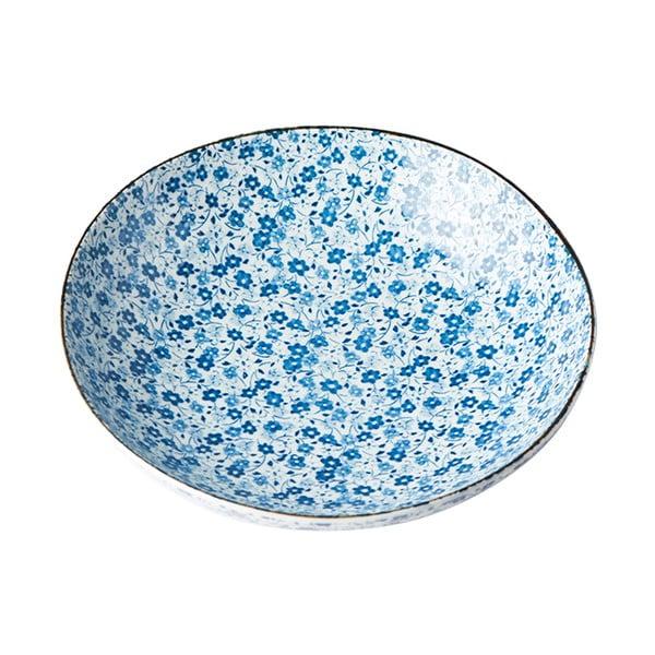 Niebiesko-biały głęboki talerz ceramiczny MIJ Daisy, ø 21 cm