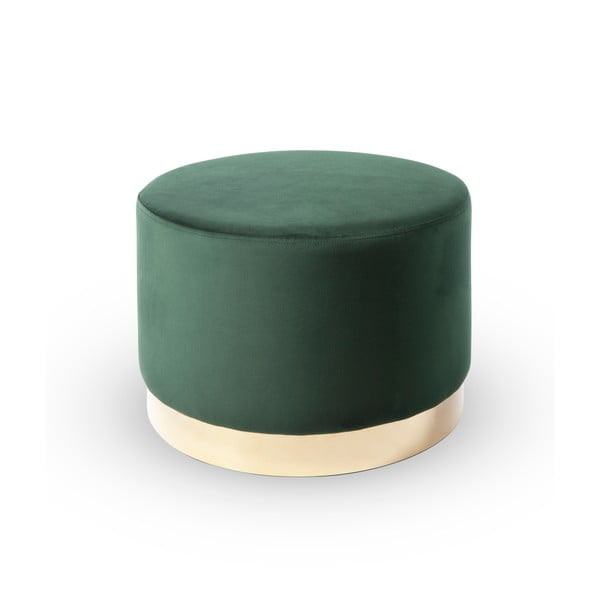 Taburet din catifea RGE Bling,⌀50cm, verde
