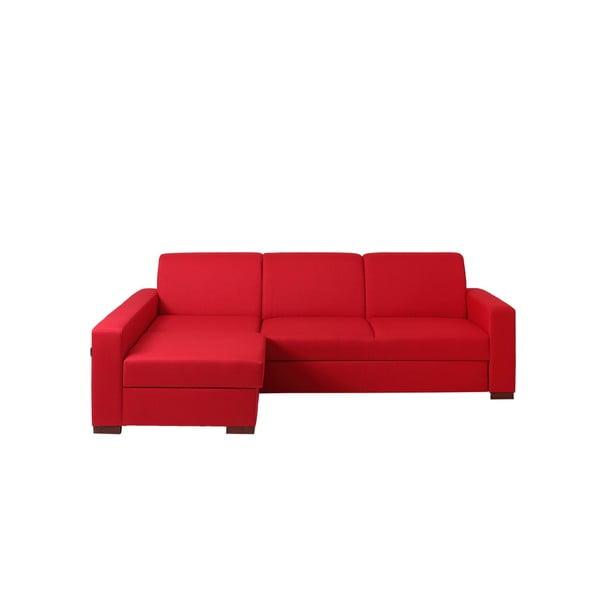 Červená rozkládací rohová pohovka s úložným prostorem a lenoškou na levé straně Custom Form Lozier