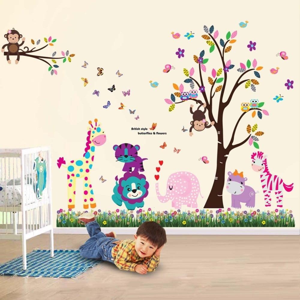 Samolepka na zeď WALPLUS Happy Animals Tree