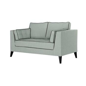 Canapea cu 2 locuri cu detalii negre Stella Cadente Maison Atalaia Mint albastru deschis