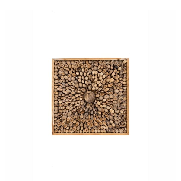 Decorațiune de perete din lemn de tec reciclat WOOX LIVING Queendom, 70 x 70 cm